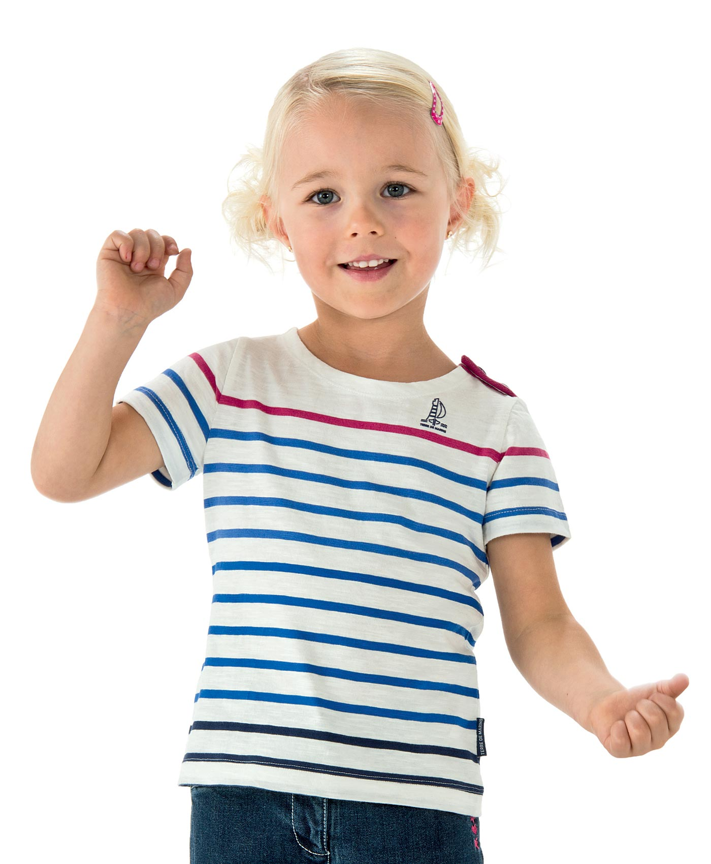 57f8e47b68431 Tee-shirt marinière fille multicolore - T-Shirt, Polo Mode Enfant fille  Terre