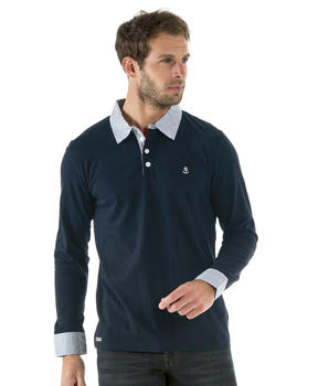 Polo homme bleu marine manches longues