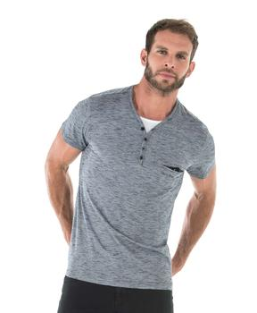 Tee-shirt homme gris chiné manches courtes