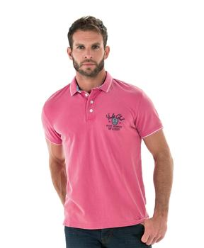 Polo homme rose pivoine manches courtes