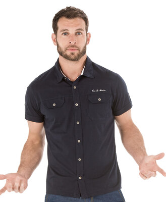 Chemise manches courtes homme marine - Mode marine Homme