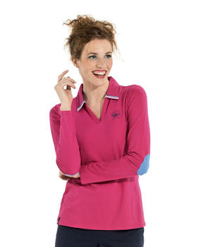 Polo manches longues femme rose fuschia - Mode marine Femme